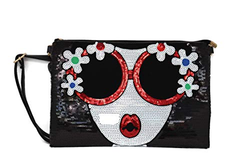 Boutique Purse (BOUTIQUES Sequin Bag PU Leather Shoulder bag with Lovely Lady Face Funky Paillette Handbag for Women (black flower))