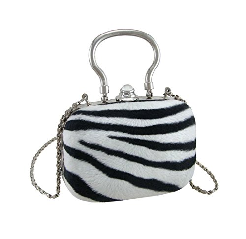 Polyester Womens Clutch Handbags Faux Fur Zebra Print Silver Trim Clutch Purse W/Removable Chain Strap 4.5 X 3.5 X 2 Inches White