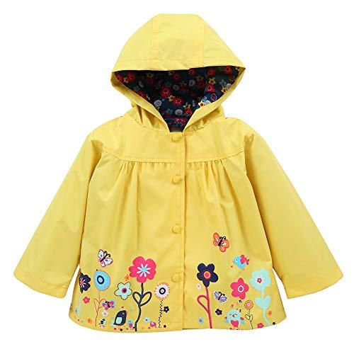 FEITONG Girls Clothes Jacket Kids Cute Flower Raincoat Coat Hoode Outerwear Jacket(18-24M,Yellow) -