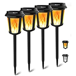 Garden and Outdoor Keenstone Solar Lights, Waterproof Solar Torch Lights with Flickering Dancing Flame, 4 Lighting Effects Auto On/Off… outdoor lighting