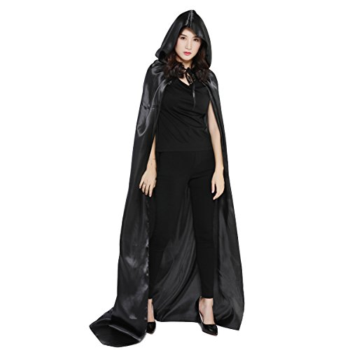 WESTLINK Cloak with Hood Costume Hooded Cape For Men Women (43 - 66inches) Black