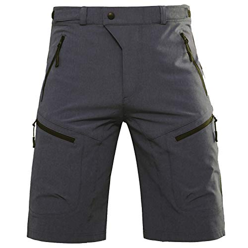 Hiauspor Mens MTB Shorts Mountain Bike Shorts Water Repellent Baggy Half Pants with Pockets for Cycling Riding (Black/Grey XL (Waist: 34-36