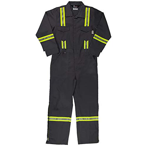 Oil and Gas Safety Supply Flame Resistant FR Reflective Coverall with Leg Zippers (36/XS, Grey) by Oil and Gas Safety Supply (Image #1)