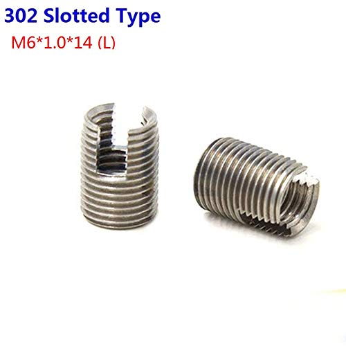 Ochoos 100pcs//Lot Stainless Steel M6X1.0 Self Tapping Thread Inserts 302 Slotted Type Insert Bushing Screws M61.014 L
