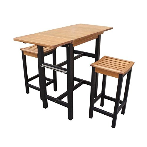 Merry Garden Kitchen Island Table Two Stool Set, Natural