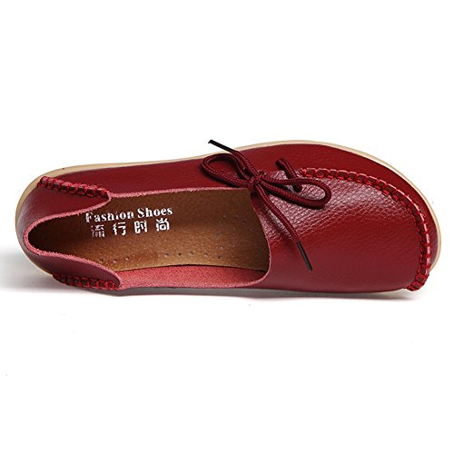 Flats Temofon Leather Slippers Driving Shoes Moccasins Loafers Slip 2 On Casual Burgundy Women's Indoor qIZIwB