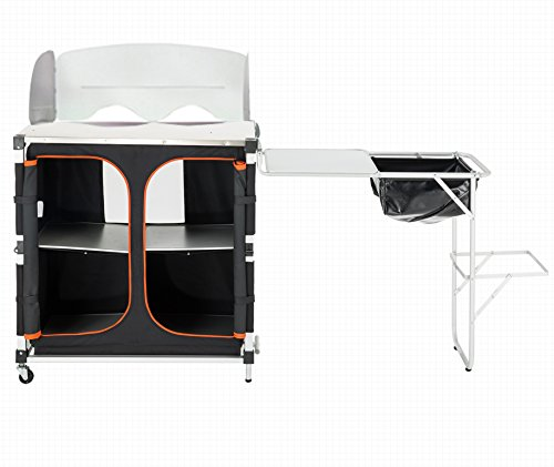 KingCamp Quick-up Multifunctional Camp Kitchen Station Cooking Table with Sink and Wheels