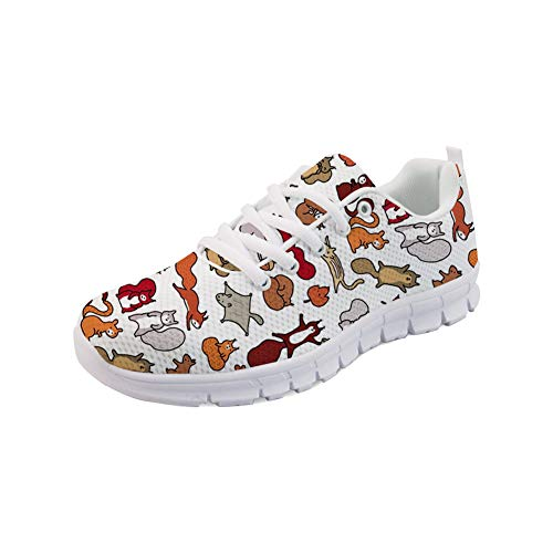 Classic Running DailyShoes Squirrels Sneakers Women in Doodle Fall Walking Lace Mesh Flats up Coloranimal IRqT4xFq