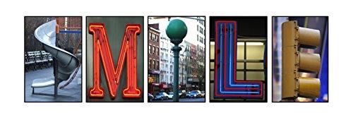 Creative Letter Art - Smile Photo prepack  Includes 5 Unique Architectural & Neon Themed 4x6 Color Alphabet Phototgraphs, (Baseball Alphabet Letter)