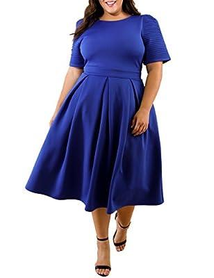 Lalagen Womens Plus Size 1950s Vintage Cocktail Dresses Flare Swing Midi Dress