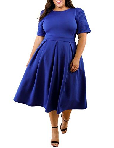 Lalagen Womens Plus Size 1950s Vintage Cocktail Dresses Flare Swing Midi Dress Blue XL
