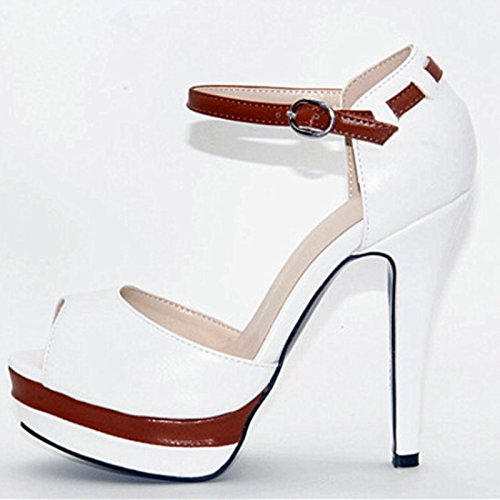 Shoes Beautiful Summer 12 In High Toe Pumps VIVIOO Leather Shoes 5 5 Sandals Prom Multi Heels Fashion Women'S Peep Cm Fabric wZtO4