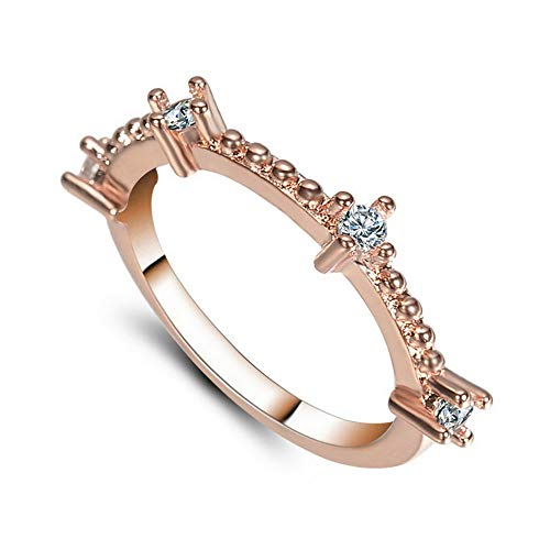 (Wausa Exquisite Simple Rose Gold Silver Sapphire Tiny Thin Tail Ring Wedding Jewelry | Model RNG - 9492 | 7 )