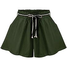 Sunfan Women's Solid Loose Casual Culottes Shorts Elastic Waist Wide Leg Shorts