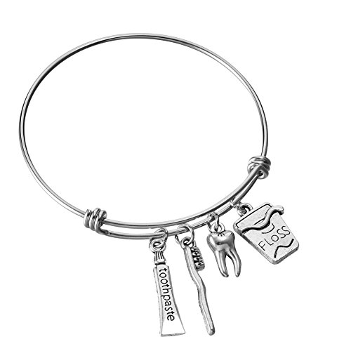 Dentist Gifts - Dentist Gifts Stainless Steel Expandable Wire Bangle Charm Bracelets Birthday Graduation Jewelry for Women