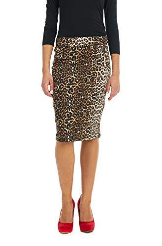 Esteez Women's Denim Pencil Skirt Stretch Jean Knee Length Brooklyn Leopard 6 ()