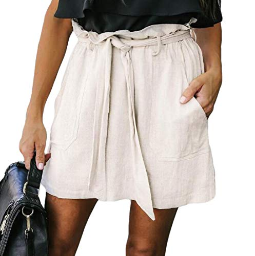 Abeaicoc Womens Solid Color Sexy Bandage Paper Bag Waist Mini Skirt with Pockets White US M