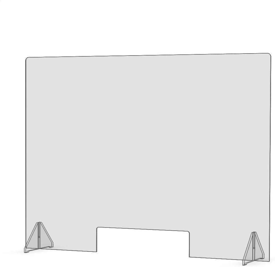 """SNEEZE GUARD 32""""W X 24""""h X 1/4"""" THK DIVIDER PROTECTION BARRIER SHIELD CHECKOUT COUNTER DESK (2 1/2"""" X 19 1/12"""" CUTOUT) (Single)"""
