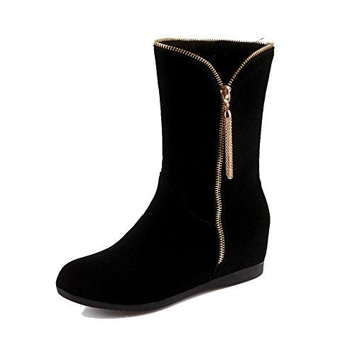 AllhqFashion Damen Reißverschluss Mittler Absatz Niedrig-Spitze Stiefel mit Metallisch, Weiß, 37