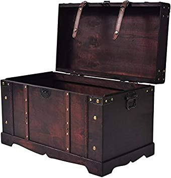 Distressed Vintage Wooden Box 13 x 8 with Handle Latches Burgundy Metal Corners Label Holder Rectangle Shape Storage