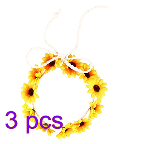 Beaupretty Daisy Floral Headband Sunflower Crown Adjustable Hair Wreath Garland Wedding Ceremony Party Festival 3Pcs