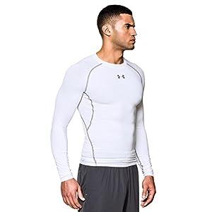 Under Armour Men's HeatGear Armour Long Sleeve Compression Shirt, White /Graphite, Medium