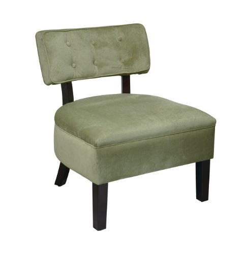 AVE SIX Curves Button Accent Chair with Espresso Finish Solid Wood Legs, Spring Green Velvet Fabric