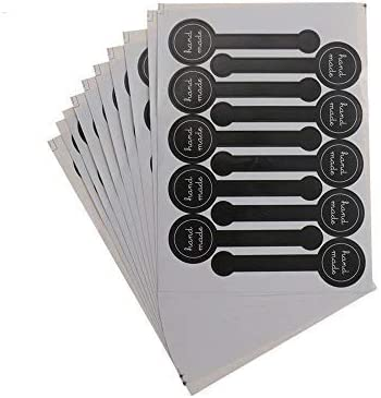 20 Sheets Black Lollipop Sealing Sticker Hand Made Adhesive Label Stickers