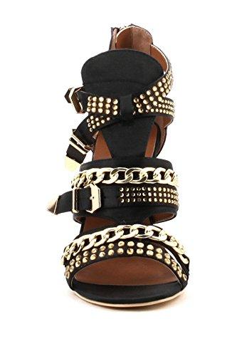 Cr Cape Robbin Ekko-11 Zwart Gouden Ketting Metaal Verfraaid Satijn Dikke Hak Gladiator Sandaal