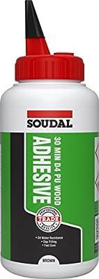Soudal - Adhesivo de madera de poliuretano D4 de 30 minutos, botella de 750 g