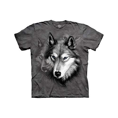 The Mountain Wolf Portrait Child T-Shirt, Grey, Medium