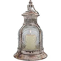 Stonebriar Antique White Metal Candle Lantern, Use As Decoration for Birthday Parties, a Rustic Wedding Centerpiece, or Create a Relaxing Spa Setting, For Indoor or Outdoor Use