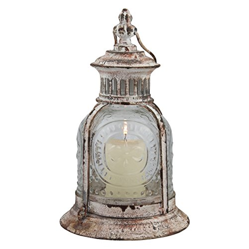 Stonebriar Antique White Metal Candle Lantern, Decoration for Birthday Parties, a Rustic Wedding Centerpiece, or Create a Relaxing Spa Setting, for Indoor or Outdoor Use