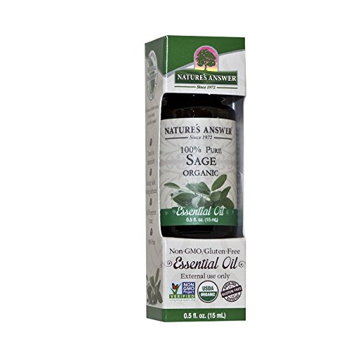 Nature's Answer 100% Pure Organic Essential Oil, 0.5-Ounce, Sage