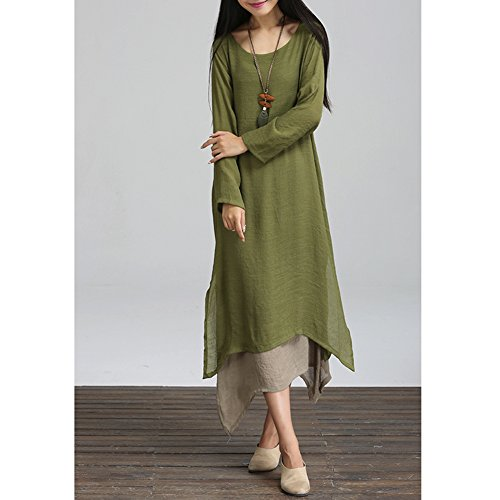 Long Sleeve Girl Double Vintage Dress CHICFOR Maxi Loose Swing Layers Boho Women's Long Shirt Green Casual w0qTq7