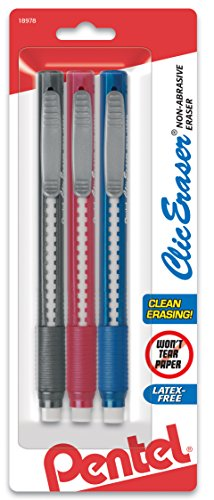 Pentel Clic Eraser Grip Retractable Eraser with Grip, Assorted Barrels, 3 Pack of Clic Erasers (ZE21BP3M) (Medium Retractable Refillable Blue Barrel)