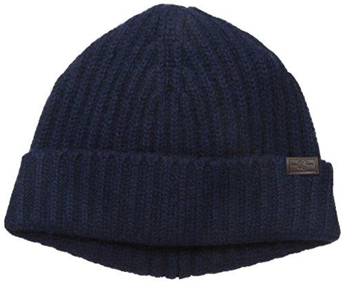 Hickey Freeman Men's Full Cardigan Stitch Cuffed Hat, Navy, One Size