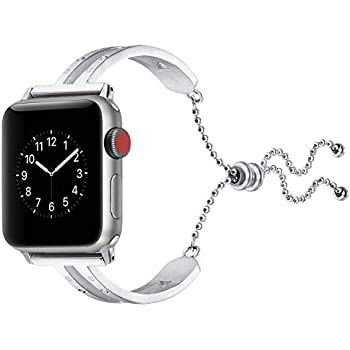 c566119a7 for Apple Watch Band 42mm 44mm,Pierre Case Diamond Jewelry Bracelet for Women  Girls Feminine with Sliding Beads and Dangle Chain/Great Gift Replacement  ...
