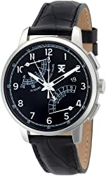 TX Men's T3C198 Classic Fly-Back Chronograph Steel Black Leather Strap Watch