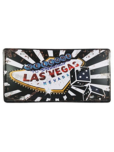 Plate Souvenir Wall (Ei Welcome to Las Vegas Vintage Car Metal License Plate Frame Décor Nevada Souvenir Wall Arts Home Decorations Office Bedroom Living Room Wedding Party Modern Gifts (Welcome))