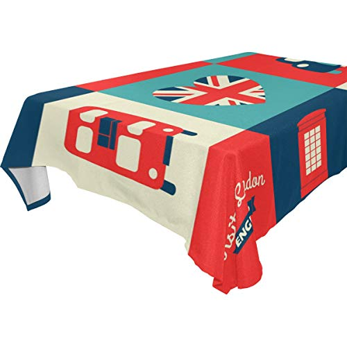 WOZO Bus London Union Jack Tablecloth Table Cloth Cover for Home Decor Dinner Kitchen Party Picnic Wedding Halloween Christmas 54x54 inch for $<!--$13.00-->