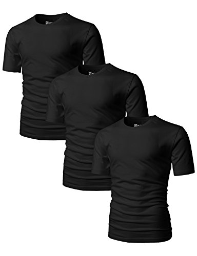 H2H Men's Slim Fit Cosy Touch to Skin Basic Crew-Neck T-Shirt Black US M/Asia L (Mens Basic Crewneck T-shirt)