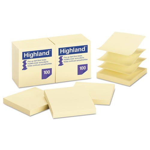 Wholesale CASE of 25 - 3M Highland Repositionable Pop-up Notes-Pop-up Notes,Removable,3''x3'',100Sht/PD,12/PK,Yellow by 3M (Image #1)