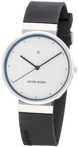 Jacob Jensen 750 New Series Stainless Steel Case Leather Band Silver Dial Men's Watch