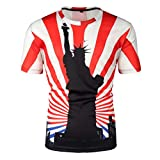 Men's T-Shirt Summer New Independence Day 3D Printing Short Sleeves Blouse Top (XS, Red)