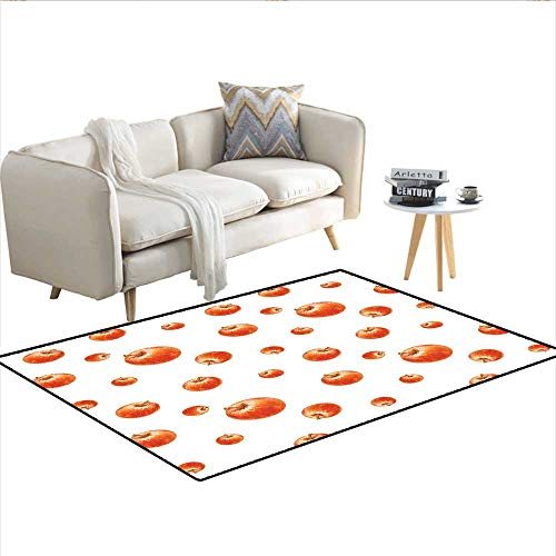 (Carpet,Watercolor Style Cameo Apples Abstract Kitchen Elements Brush Stroke Effects,Customize Rug Pad,Vermilion White 40