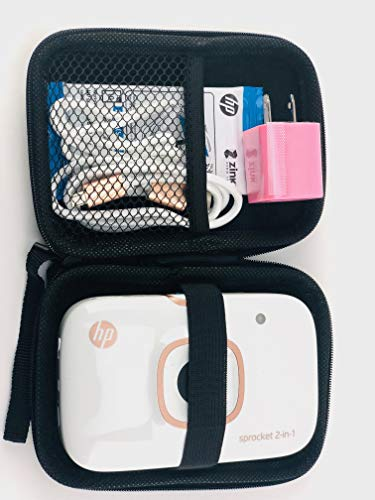 HP Sprocket 2-in-1 Instant Camera & Pocket Photo Printer, Print Photos on 2×3 Sticky-Backed Paper+ Travel case+ Photo Paper (10 Sheets) + USB Cable+ Dual USB Charger with Fast &Regular Charging