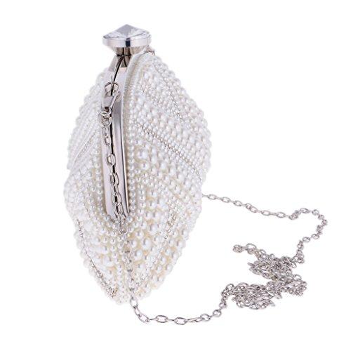 MagiDeal Borsa Pochette Donna A Catena Strass Perla Cristallo Diamante Da Sera Elegante Lusso Bianco Matrimonio Cerimonia Nuziale