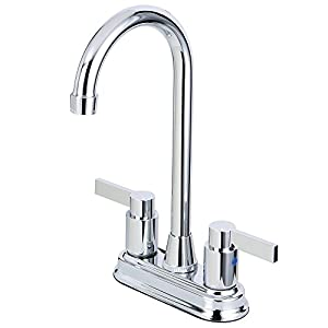 Kingston Brass KB8491NDL 4-3/4-Inch in Spout Reach NuvoFusion Two Handle 4-Inch Centerset Bar Faucet, Polished Chrome