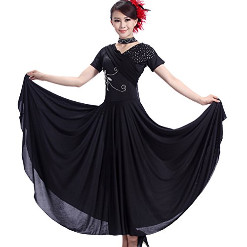 Full Nice Women's Modern Ballroom Dance Competition Dress Dance Short Sleeve Performance Dance Dress(Black,2XL)